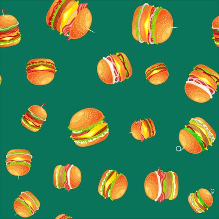 Tasty burger with grilled beef and fresh vegetables with sauce in bun for snack or lunch. Illustration