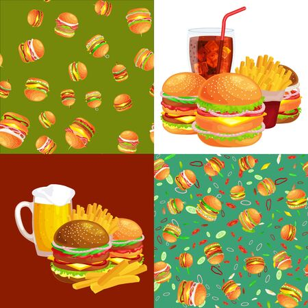 vecor: Set of burger grilled beef and fresh vegetables dressed with sauce bun snack american hamburger fastfood barbecue meat meal Hamburger with detailed flying slices of menu ingredients vecor illustration
