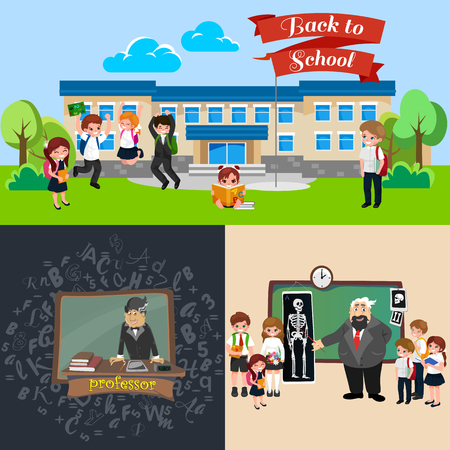 Back to school set of pictographs, school campus building vector illustration.