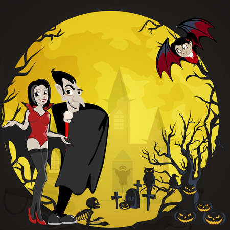 Halloween backgrounds with vampire family couple - man, girl and baby bat, castle on cemetery, Draculas monster in cloak flat vector illustrations, for Halloween party invitation or flyer, greeting card