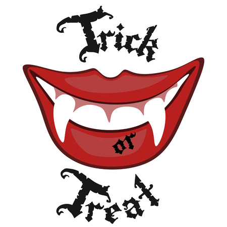 Sexy halloween vampire mouth with blood and teeth, trick or treat greeting card vector illustration.
