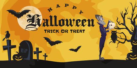 Halloween Hintergründe saß mit Vampir und ihr Schloss unter dem Vollmond und Friedhof, Dracula mit Zähne Zähne, Monster in einem Sarg flache Vektor Illustrationen, gut für Halloween Party Einladung oder Flyer, Grußkarte, Süßes oder Saures Dekoration Standard-Bild - 87209836