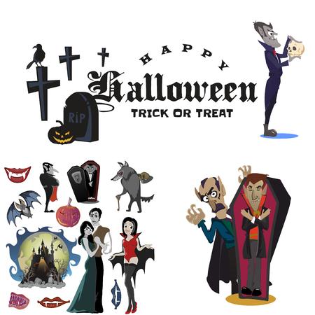 Arrière-plans d'Halloween assis avec vampire et leur château sous la pleine lune et le cimetière, Dracula avec dents crocs, monstre dans un cercueil plat illustrations vectorielles, bon pour l'invitation de fête Halloween ou flyer, carte de voeux, tour ou traiter la décoration Banque d'images - 87209841