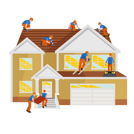 roof shingles: Repairing rooftop tile house with labor equipment illustration.