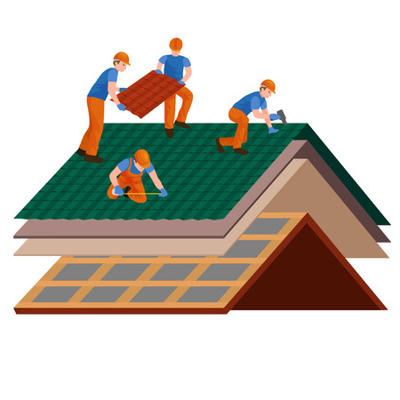 roof shingles: roof construction worker repair home, build structure fixing rooftop tile house with labor equipment, roofer men with work tools in hands outdoors renovation residential vector illustration.