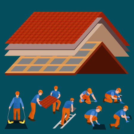 Roof construction worker repair home, build structure fixing rooftop tile house with labor equipment, roofer men with work tools in hands outdoors renovation residential illustration Иллюстрация