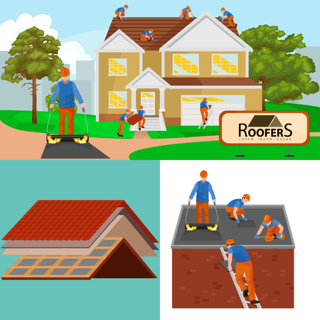roof shingles: Roof construction worker repair home, build structure fixing rooftop tile house with labor equipment, roofer men with work tools in hands outdoors renovation residential illustration Illustration