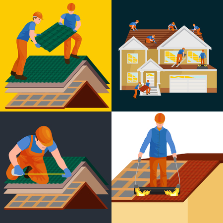 roof shingles: Repairing rooftop tile with labor equipment illustration set. Illustration