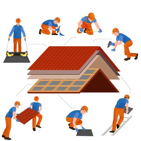 Reparación de trabajador de construcción de techo Ilustración de vector