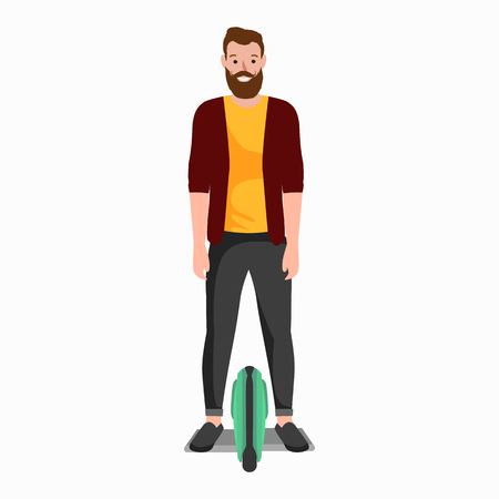 active peoples fun with electric scooter, family on segway new modern technology hoverboard, man woman and child self balance wheel transport gyroscooter ride the street vector illustrator. Illustration