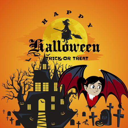 flocks: vampire bat flying on the full moon on cemetery with horror pumpkin and dracula castle, trick or treat background, baby vector illustration Illustration