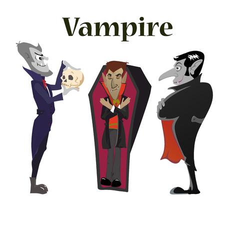 vampire bats: Halloween vampire in coffin, Draculas monster in cloak flat vector illustrations, good for party invitation or flyer, greeting card Illustration