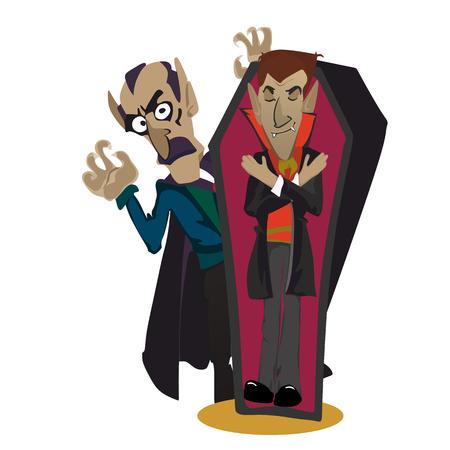 Halloween wampir w trumnie, potwór Draculas w płaskie ilustracje wektorowe, dobre dla strony zaproszenie lub ulotki, karty z pozdrowieniami