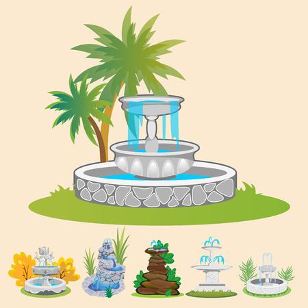 Conjunto de fuente al aire libre para plantas de jardinería, primavera y verano alrededor de cascada de jardín, ilustración de vector de estatua de piedra decorativa de patio trasero de otoño Foto de archivo - 88355735