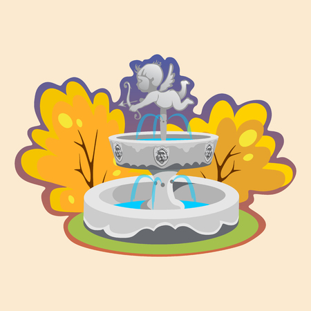 Part from Set of outdoors fountain for gardening, spring and summer plants around garden waterfall, autumn back yard decorative stone statue vector illustration Illustration