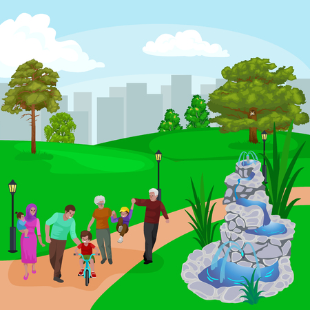Happy family in park with fountain, boys and girls playing outdoors around garden waterfall, casual people in vacation vector illustration.