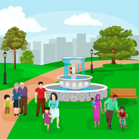 Happy family in park with fountain.