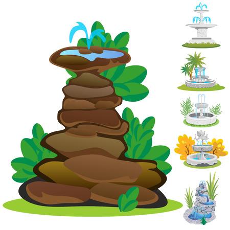 Set of outdoors fountain for gardening. Stock Illustratie