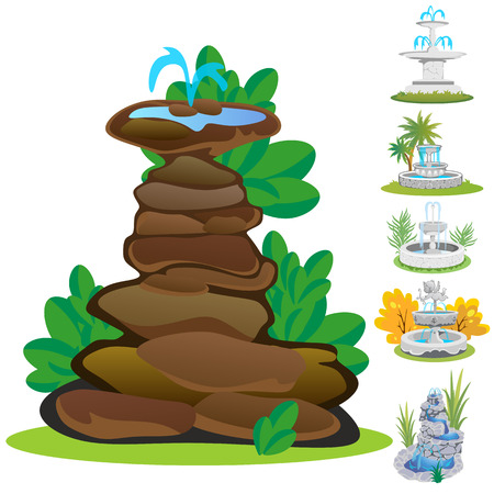 Set of outdoors fountain for gardening. Illustration