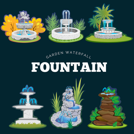 Set of outdoors fountain for gardening, spring and summer plants around garden waterfall, autumn back yard decorative stone statue vector illustration