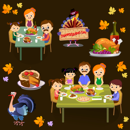 thanksgiving set, isolated happy family at the dinner table eat turkey drink wine. Mother father with childrens celebrate together traditional autumn holiday. People give thanks vector illustration Stock Photo