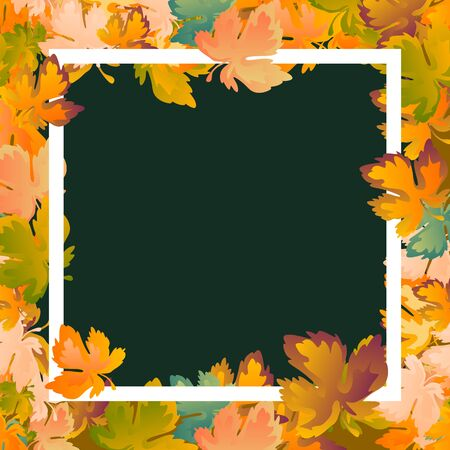 Autumn layout decorate leaves shopping sale or promo poster and white frame leaflet.