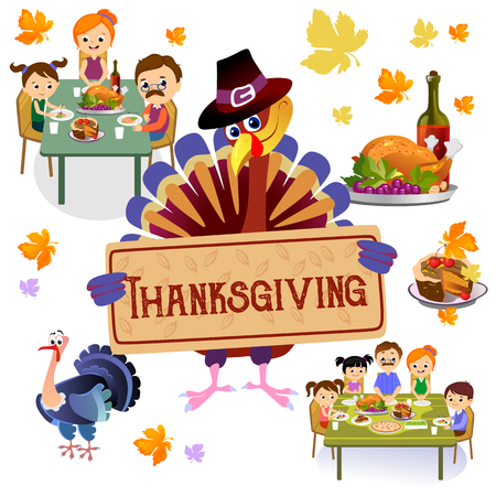 Thanksgiving set, isolated happy family at the dinner table eating turkey and drinking wine.