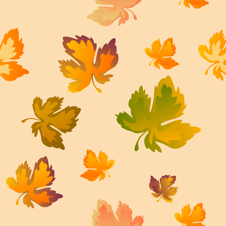 Autumn leaves, seamless pattern, vector background. Red, yellow and green maple leaves on a blue background.