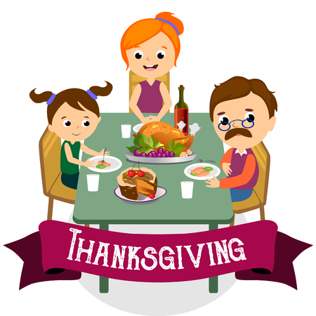 thanksgiving set, isolated happy family at the dinner table eat turkey drink wine. Mother father with childrens celebrate together traditional autumn holiday. People give thanks vector illustration Imagens