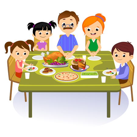 Thanksgiving Set Isolated Happy Family At The Dinner Table Eat Turkey Drink Wine Mother