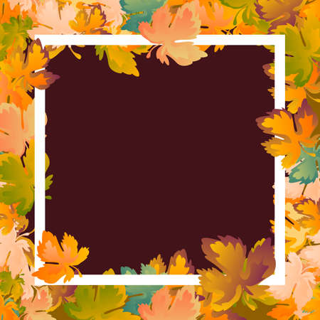 Autumn background layout decorate leaves shopping sale or promo poster and white frame leaflet ,web banner.Vector illustration template. Red, yellow and green maple leaf