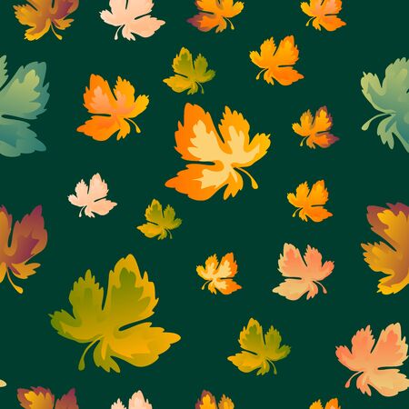 Autumn leaves seamless pattern, vector background. Red, yellow and green maple leaf, For the design of wallpaper, fabric, decoration material Imagens