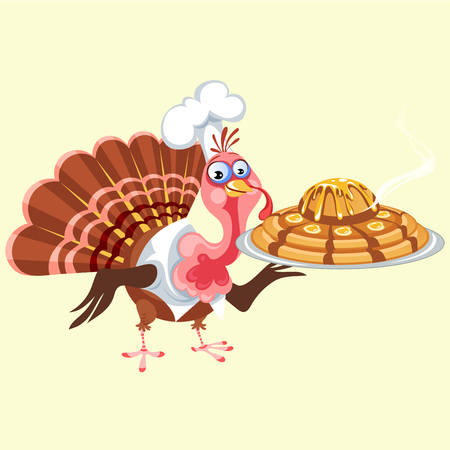 Cartoon thanksgiving turkey character holding pie, autumn holiday bird vector illustration happy greeting text on flyer or card on white background