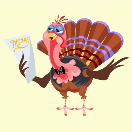 Cartoon thanksgiving turkey character holding menu, autumn holiday bird vector illustration happy greeting text on flyer or card on white background