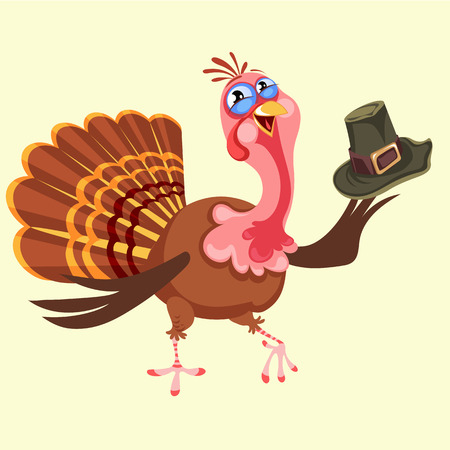 Cartoon thanksgiving turkey character in hat, autumn holiday bird vector illustration happy greeting text on flyer or card on white background