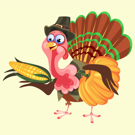 Cartoon thanksgiving turkey character in hat holding harvest, autumn holiday bird vector illustration happy greeting text on flyer or card on background