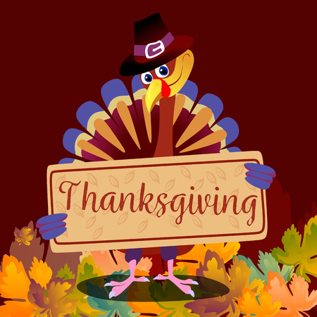 Cartoon thanksgiving turkey character in hat, autumn holiday bird vector illustration happy greeting text on flyer or card on background with falling leaves Ilustração