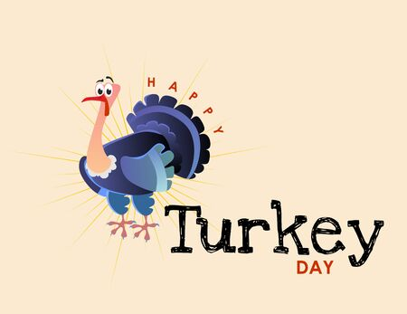 Cartoon thanksgiving turkey character, autumn holiday bird vector illustration happy greeting text on flyer or card isolated on background