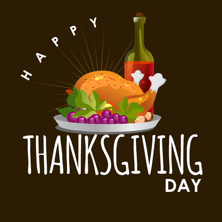 Roasted whole chicken or turkey sauced and grilled autumn vegetables, wine isolated on background. Thanksgiving Day food concept, happy greeting text on flyer or card