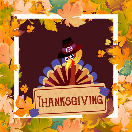 Cartoon thanksgiving turkey character in hat, autumn holiday bird vector illustration happy greeting text on flyer or card on white background with falling leaves framed leaf white square