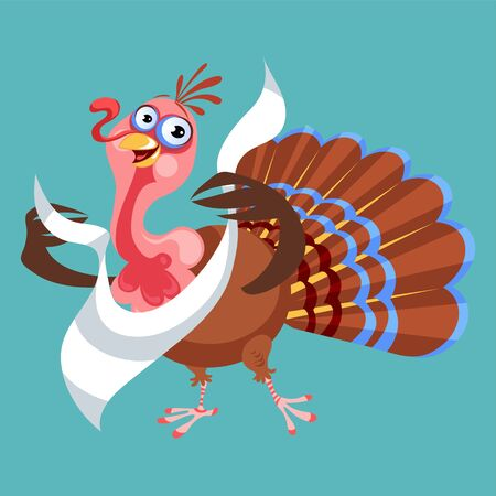 Cartoon thanksgiving turkey character in napkin, autumn holiday bird vector illustration happy greeting text on flyer or card on background