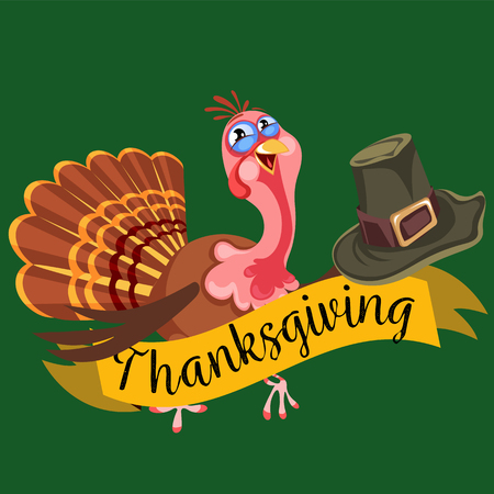 Illustration of a cartoon turkey character and hat for thanksgiving design. Ilustração