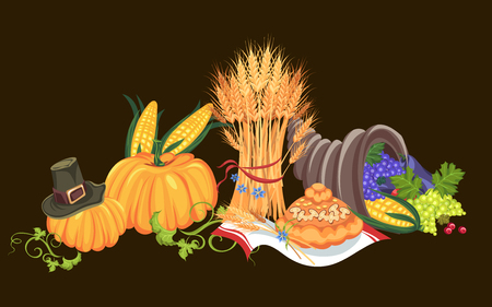 Harvest organic foods like fruit and vegetables, happy thanksgiving dinner card or banner background, harvesting grapes vector illustration