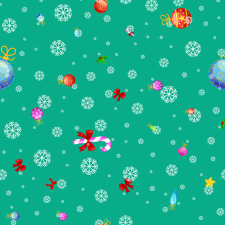 Christmass seamless pattern gingerbread man cookies, jingle bells stocking gifts, xmas background decoration elements texture vector ornament illustration, winter holiday sock with candy and presents