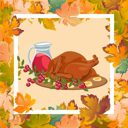Geroosterde hele kip of kalkoen sauced en gegrilde herfst groenten, wijn geïsoleerd op een witte achtergrond met gele, oranje bladeren. Thanksgiving day voedsel concept.