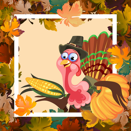 Cartoon thanksgiving turkey character holding pumpkin and corn harvest, autumn holiday bird vector illustration background framed leaves and white frame Imagens - 90685533
