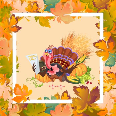 Cartoon thanksgiving turkey character in hat holding pumpkin and corn harvest, autumn holiday bird vector illustration background framed leaves and white frame