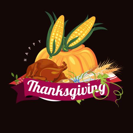 pompoen met twee maïskolven in groene bladeren, herfst voedsel achtergrond vectorillustratie, plantaardige oogsten, thanksgiving day producten. Stock Illustratie