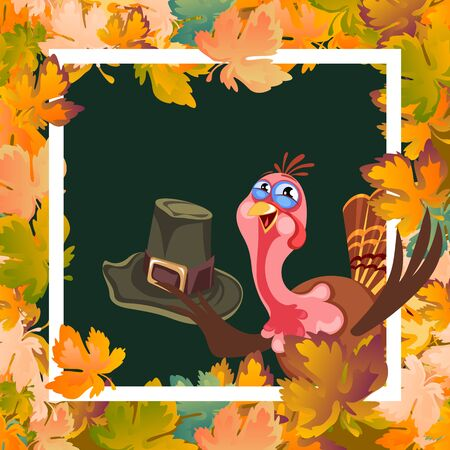 Cartoon thanksgiving turkey character holding hat, autumn holiday bird vector illustration happy greeting text on flyer or card on background Imagens - 90742131