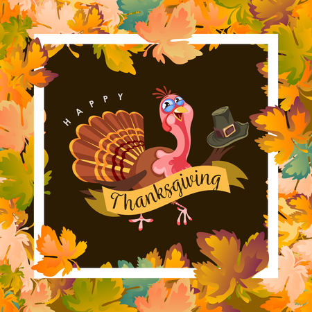 De hoed van de het karakterholding van de beeldverhaaldankzegging Turkije, van de de vogel de vectorillustratie van de de herfstvakantie gelukkige groettekst op vlieger of kaart op achtergrond